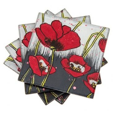 Contemporary Red Poppy Glass Coasters Set of 4